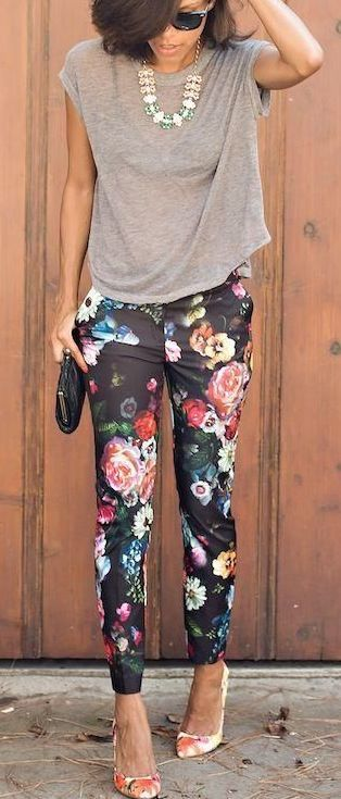 Coffee time - floral pants, grey shirt, high heels, necklace, sunglasses and clutch. JustBeStylish.com