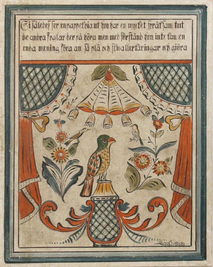 Dalmålning på väv, motiv med fåglar, draperier och blomster. Signerad. (121x96). 3 000:-