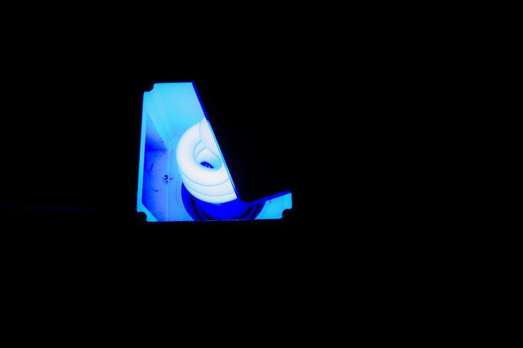 A blu neon in an old proiettor  #lightdesign #homemade #blu