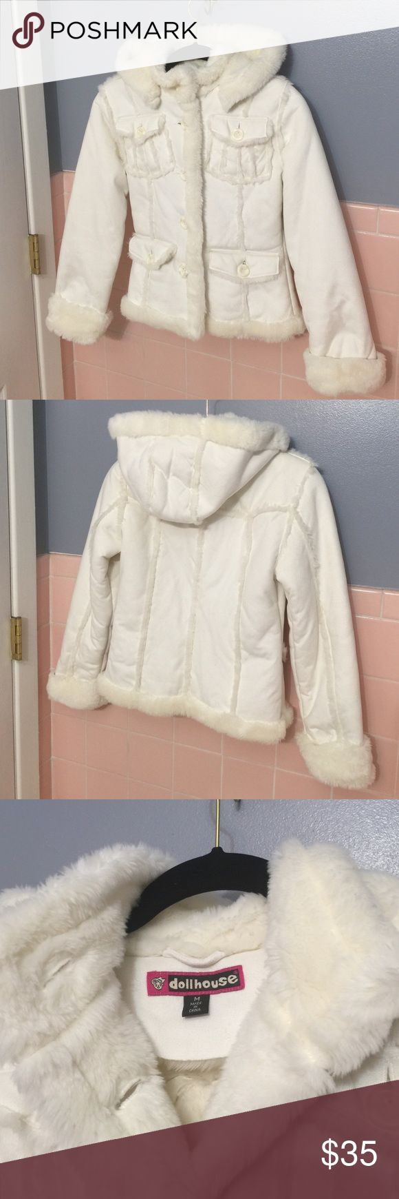 Dollhouse White Faux Fur Jacket Dollhouse White Faux Fur Jacket,,This is absolutely adorable ❤️ Fur inside,Faux leather outside.So so cute 😃 Dollhouse  Jackets & Coats