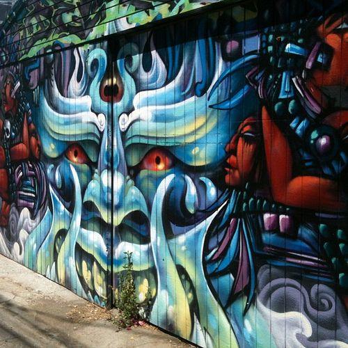 39 best street art images on pinterest urban art for Aztec mural painting