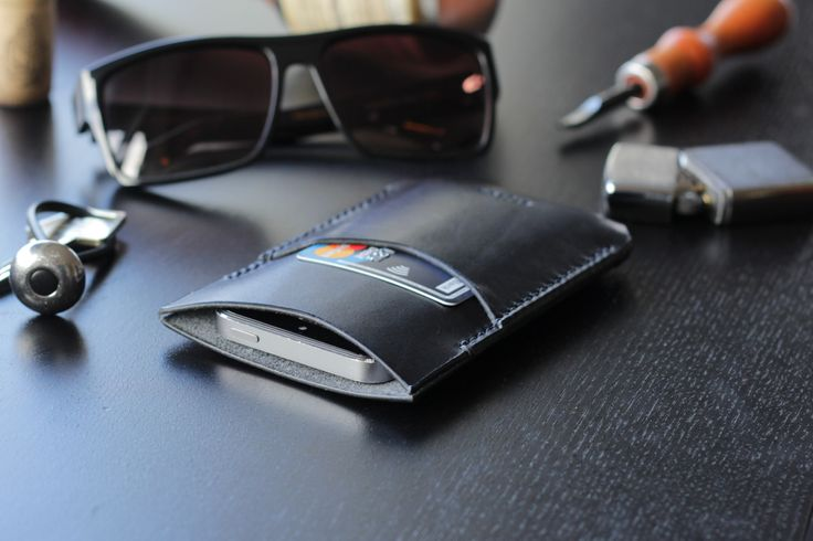 Steve the Sleeve in Coal Black - Minimalist Leather Phone Case with Card Pocket
