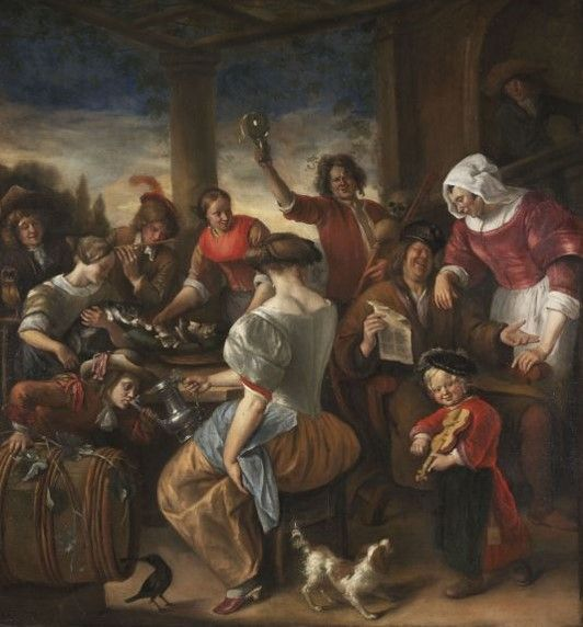 """Jan Steen - Merry Company in a Pergola (The """"Cat-Family""""). 1673-75."""