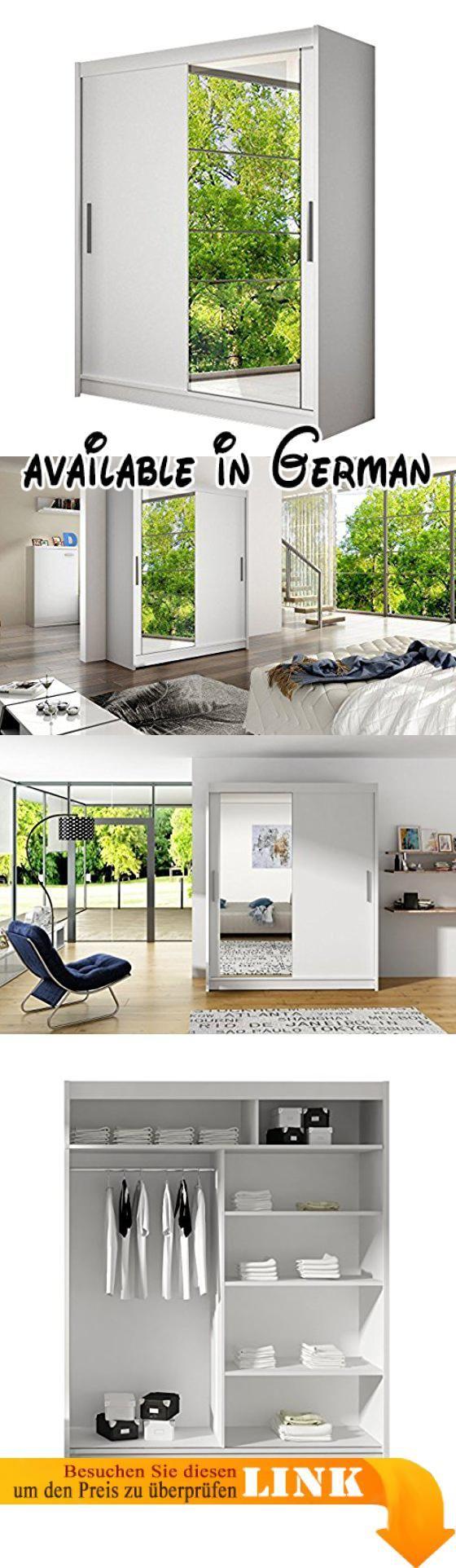 B075WVDZRC : Schwebetürenschrank Presto VI Kleiderschrank mit Spiegel Modernes Schlafzimmerschrank Schiebetürenschrank Garderobe Schlafzimmer (Weiß). Modernes Design & Hochwertige Qualität. Schiebtürensystem mit Gleitschienen aus Aluminium. Mit Kleiderstange und geräumigen Einlegeplatten ausgestattet. Garantiert viel Stauraum. Die Möbel werden in Paketen mit Montageanleitung zum Selbstaufbau bis zur ersten Tür geliefert. Unsere Spedition bietet keinen Montageservice