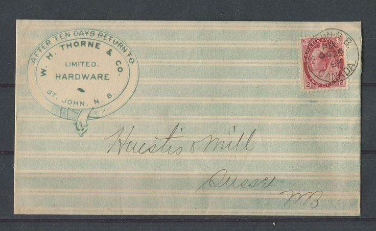 """A beautiful example of an """"all-over"""" printed advertising cover from the W.H. Thorne Hardware company - 1899. During the 1890's some businesses would print elaborately designed envelopes to attract attention to their businesses. These often featured printed designs on the front, and occasionally the back of envelopes. This one is a really nice example of a full frontal design in colour and is in a remarkable state of preservation."""
