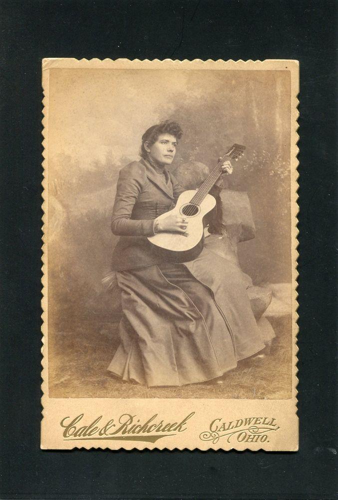 Cabinet Card Photograph Woman Guitar Music Instrument photo Caldwell OHIO