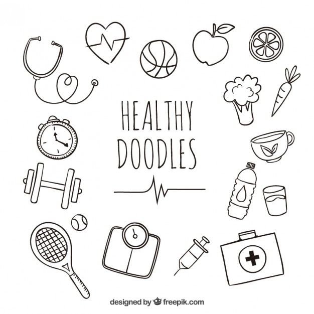 Healthy doodles Free Vector