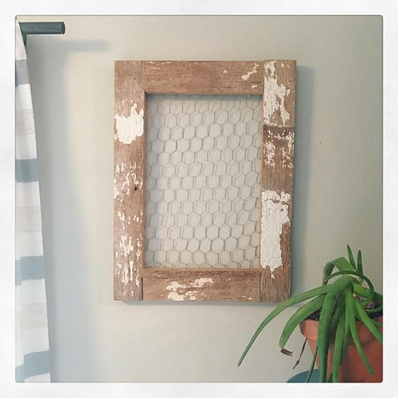 Chicken Wire Frame Distressed Whitewash 10x20 15x30 Rustic Chicken Wire Frame Rustic Wall Decor Farmhouse Wall Decor
