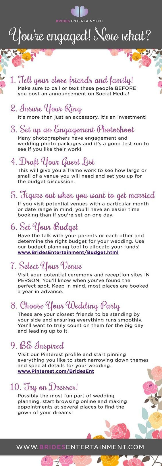 Events by Gia found this informative Chart for things you need to do after you get engaged!  #atlanta #eventsbygia #weddingplanning #eventcompany #corporateevent #sherwoodeventhall #wedding #atlantawedding #weddingideas #entertaining #atlantavenues #entertainment #partyideas #weddingtodolist