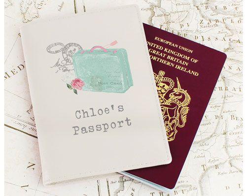 Vintage Suitcase Cream Passport Holder