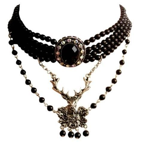 Trachten Dirndl Kette mit Hirsch schwarze Perlen