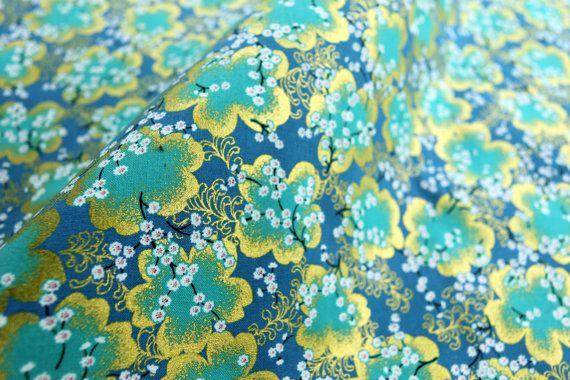 Japanese kimono fabric cotton blue Sakura half a yard, quilt decoration tenugui japanese flowers cotton fabric,