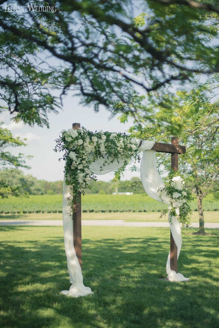 Rustic Wedding Arch with Draping and Greenery, Wooden Wedding Arch | ElegantWedding.ca
