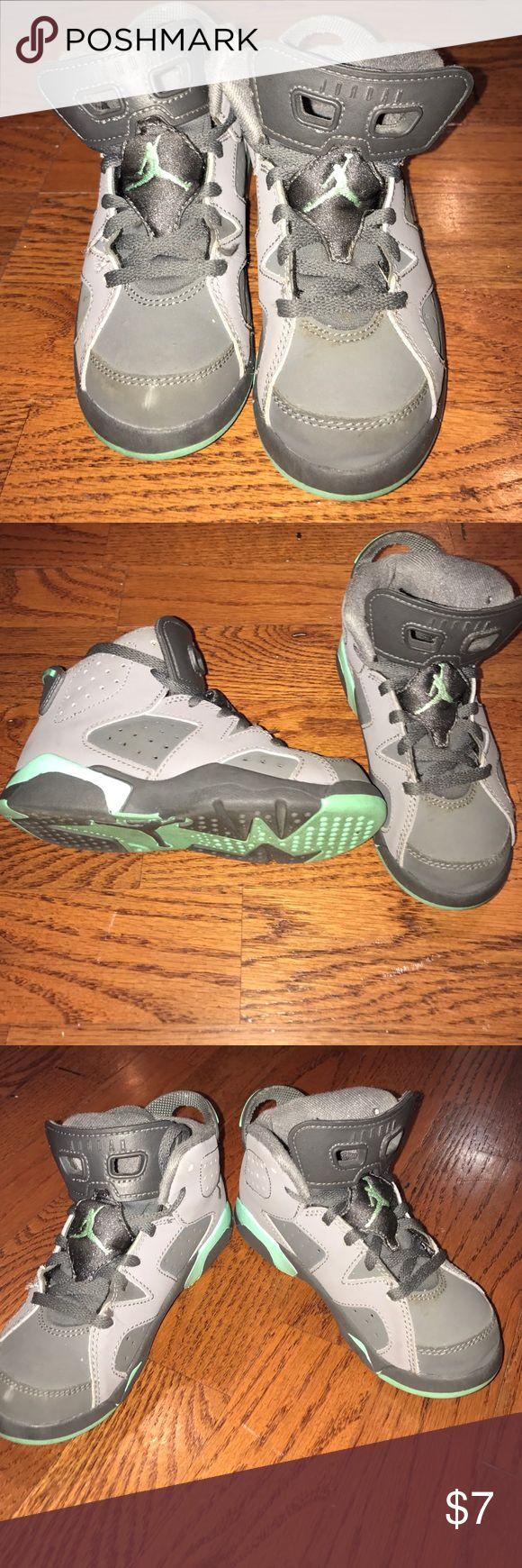 Kids Jordan 7's grey and turquoise Lightly worn toddler size 11 Jordans Jordan Shoes Sneakers