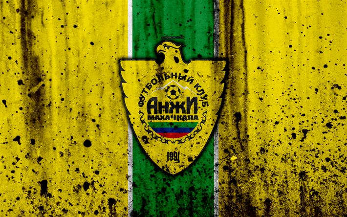 Download wallpapers 4k, FC Anzhi Makhachkala, grunge, Russian Premier League, art, soccer, football club, Russia, Anzhi, logo, stone texture, Anzhi Makhachkala FC