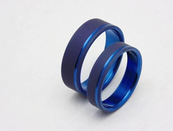 His And Hers Cobalt Blue Anodized Wedding Band Set Titanium Wedding Band Sets Blue Wedding Band Titanium Wedding Band