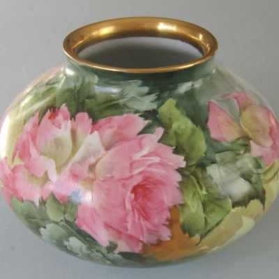 Antique Handpainted Porcelain Squat Bulbous Vase Pink Roses Gilt Trim Sherratt'S