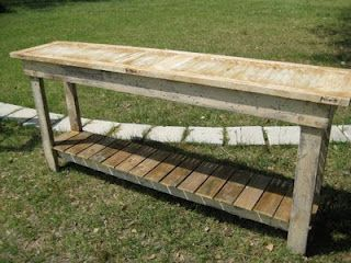 Table made from shutters. Nice for outdoor patio/porch buffet/bar. Plant/flower display table.
