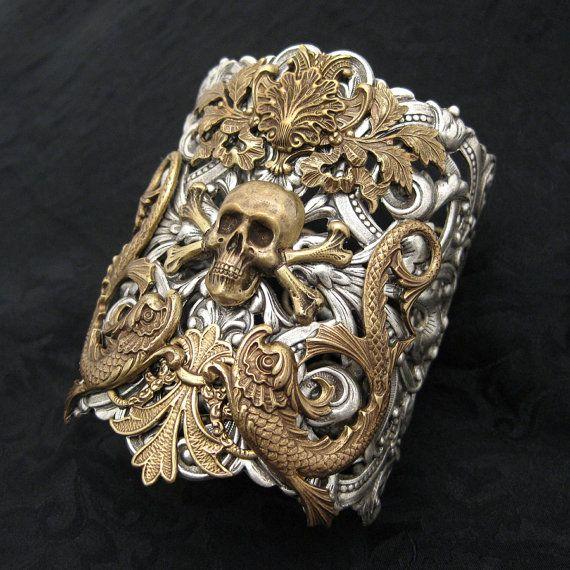 Dangerous Crossing  Mixed Metal Cuff Bracelet by RavynEdge on Etsy, $85.00