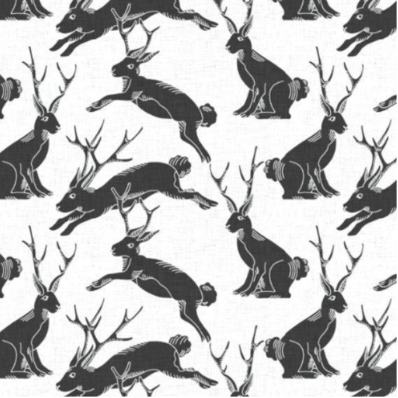 Spoonflower's Jackalopes designed by Holli Zollinger - printed on a variety of cotton fabrics - By the yard by Spoonflower on Etsy https://www.etsy.com/listing/266991287/spoonflowers-jackalopes-designed-by