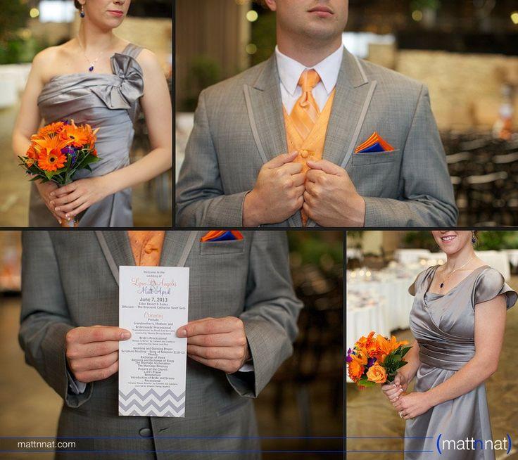 Grey, orange and blue wedding details. Bridesmaid and groomsmen attire. Wedding, Eden Resort Lancaster PA.