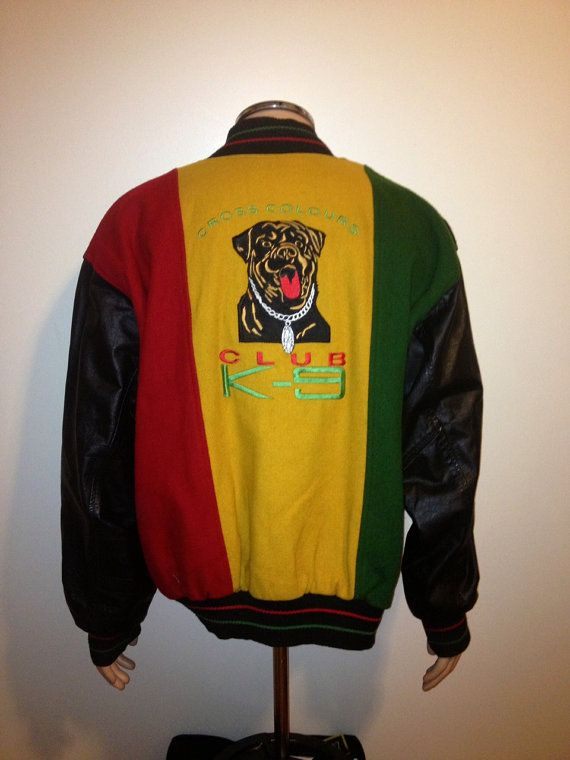 Vintage 90s RARE CROSS COLOURS Club k-9 Varsity Leather Jacket Rasta color  Africa hip hop rap  Fresh Prince Funky