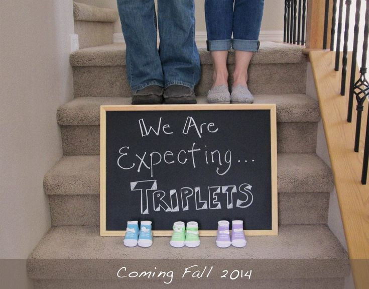 Triplets pregnancy announcement, multiples pregnancy announcment