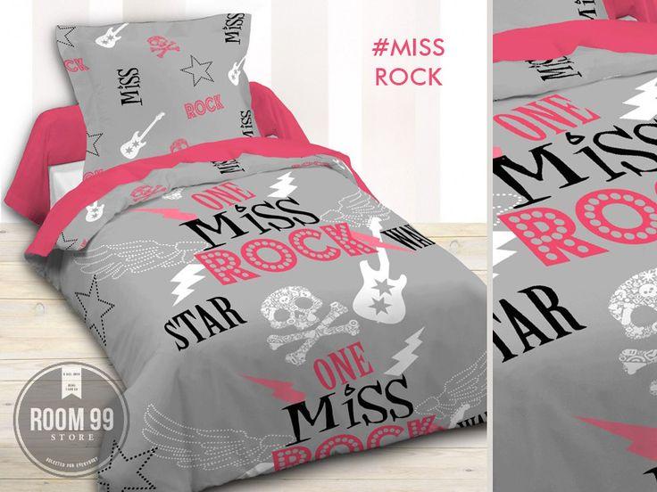 Modne szare pościele bawełniane z napisem MISS ROCK