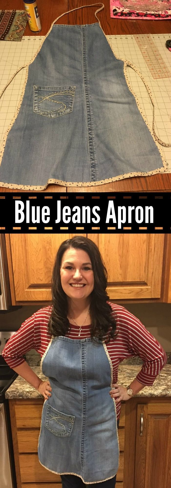 My made me an apron out of my old favorite blue jeans! Here's instructions how she made my new favorite denim apron. #apron #denimapron #recycledenim #jeans