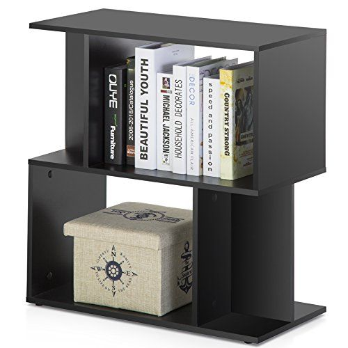 Homury Modern Wood End Side Table Coffee Table Bookcase Storage