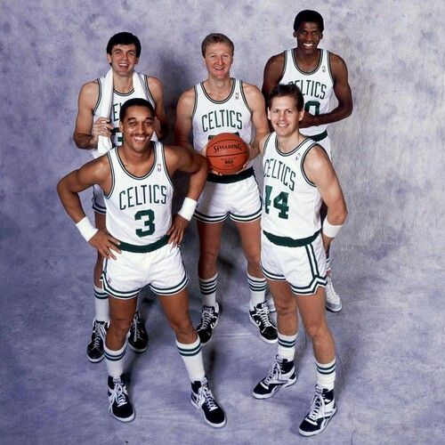 Dennis Johnson, Danny Ainge, Kevin McHale, Larry Bird and Robert Parrish