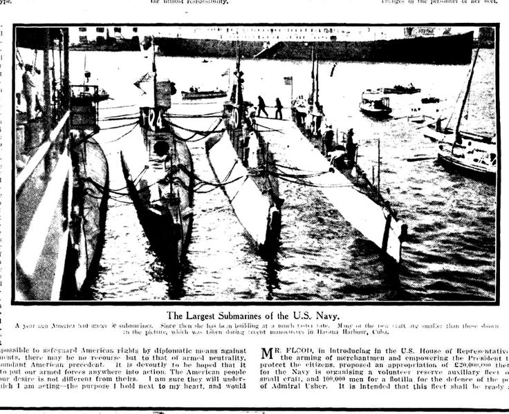 """WWI, 7 March 1917; """"The Largest Submarines of the US Navy"""" - The Sydney Mail"""