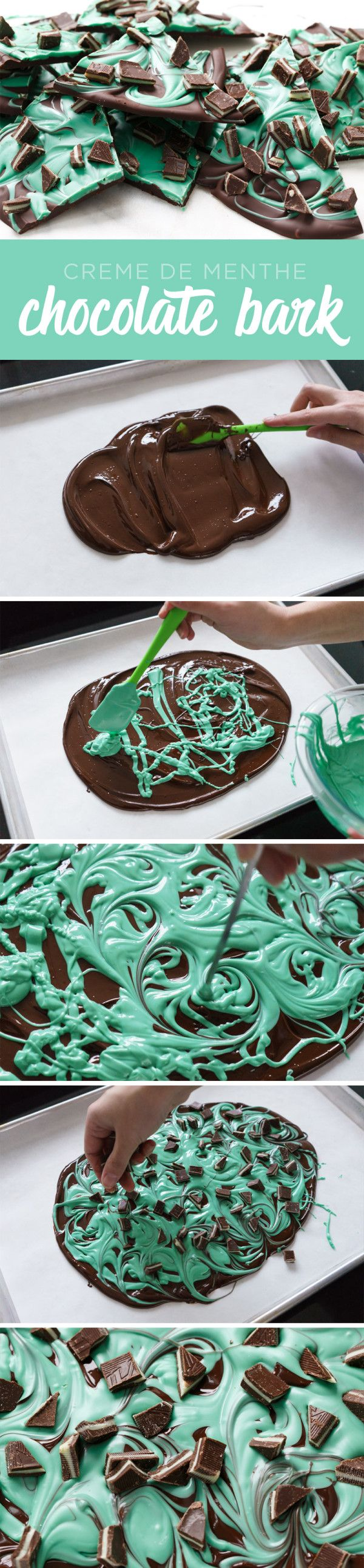 Easy 3-Ingredient Mint Chocolate Swirl Bark from LoveAndOliveOil | Lindsay Landis