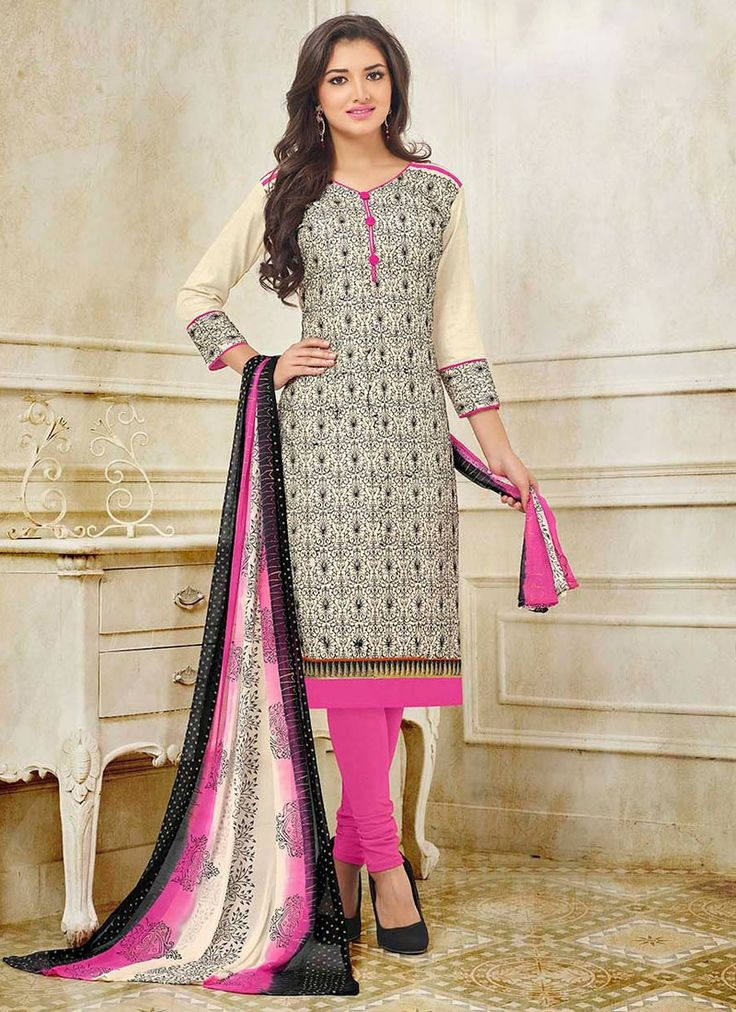 Buy Stunning Embroidered Work Beige Silk Churidar Suit,