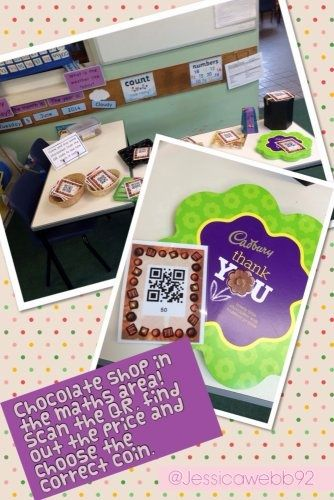 Chocolate shop in the maths area. The children scan the QR code to find out the price of the chocolates and then find the correct coin to pay. EYFS