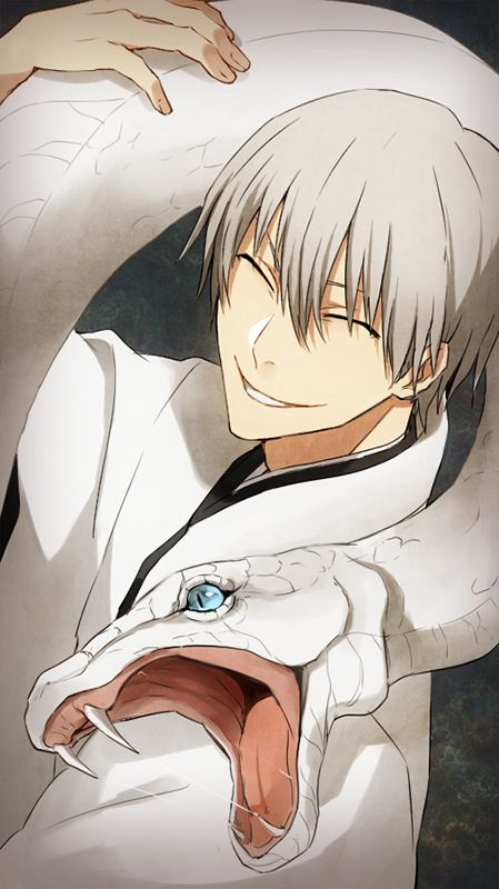 Ichimaru Gin - Bleach. more info:  http://bleach.wikia.com/wiki/Gin_Ichimaru > Gin is a very mysterious man, since his almost constant smile and slitted eyes, combined with his heavy use of sarcasm and mocking politeness, make it very difficult to discern his thoughts. Many find his demeanor and appearance rather unsettling and there are very few who were willing to trust him even before he was revealed as a traitor.
