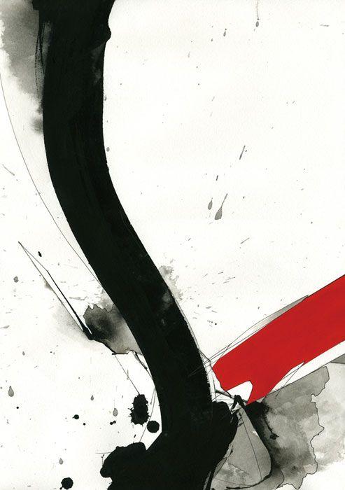 ♂ Japanese ink art black & red #inkart