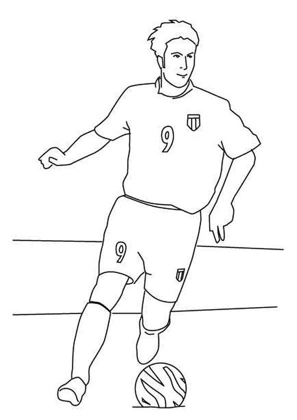 Coloriage d'un joueur amateur de football