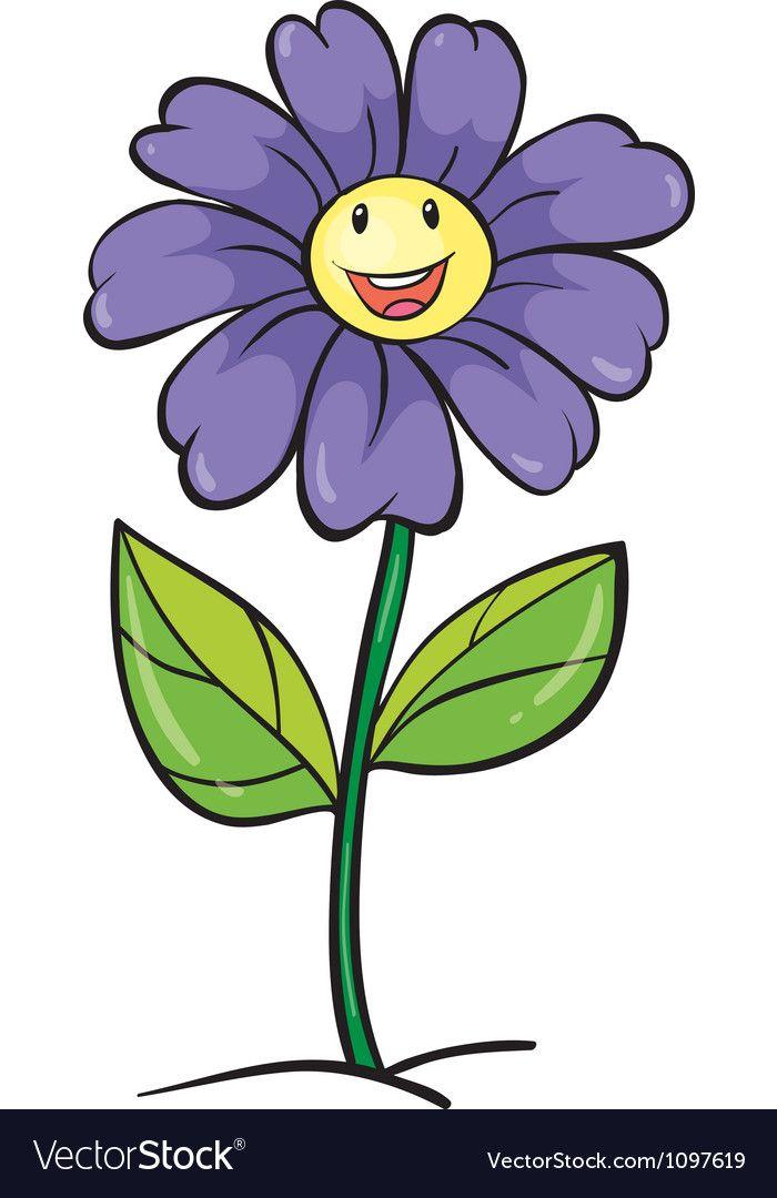 A Purple Flower Vector Image On Vectorstock Cartoon Flowers Flower Drawing Flower Painting
