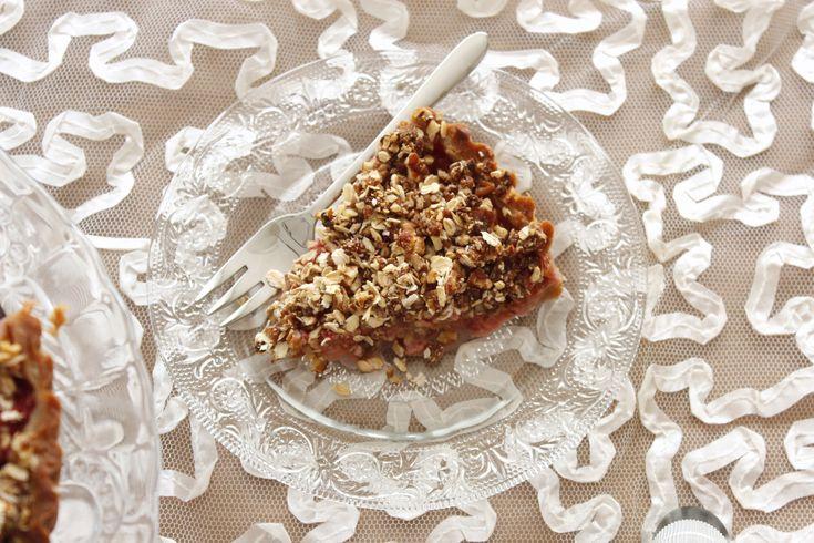 Aardbei-rabarber crumble taart 6-001