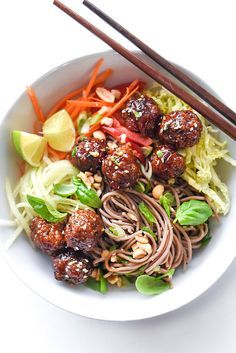 Soba Noodles with Sriracha Meatballs makes a fresh and healthy Asian-inspired noodle lunch or dinner | http://foodiecrush.com