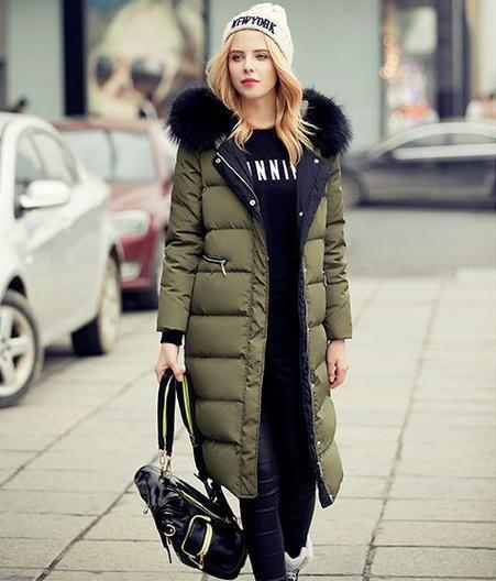 2016 neue Art und Weise Frauen-Winterjacke feste Farbe für eine sehr lange Gerade Frau mit einer Kapuze Pelzkragen beschichten unten Oberbekleidung Jacke mit Kapuze Jacke kaufen auf AliExpress