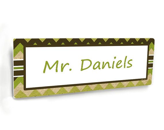 green and brown chevron personalizable male teacher class door name plate  by kasefazem