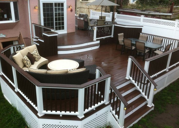 Tiered deck.  Two tone is very nice too.  Decks.com. Vintage Lantern - Picture 1875