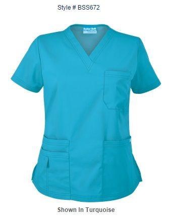 Blusa Médica UA Butter-Soft ELASTIZADA con Cuello en V. Style # BSS672