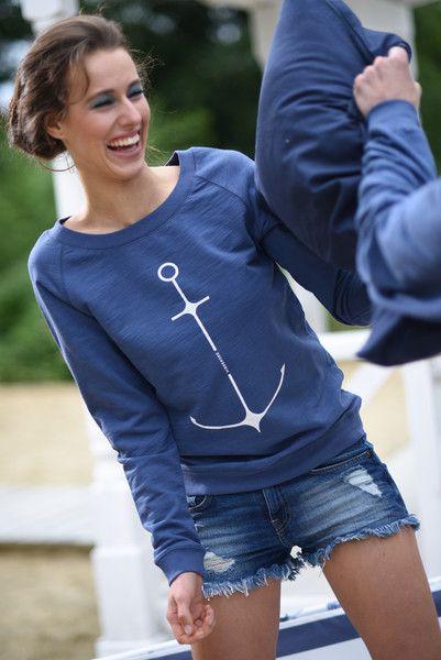 Sweatshirts - Sweater Damen Anker Ahoi - ein Designerstück von fadenrot bei DaWanda