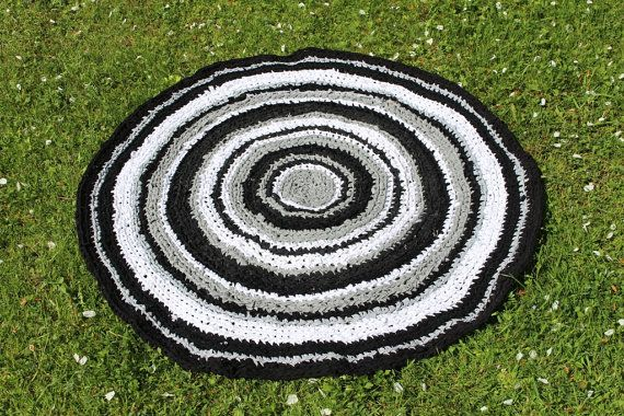 Large Crochet Round Area Rug 39'' Outdoor Rug by KristiTreasures