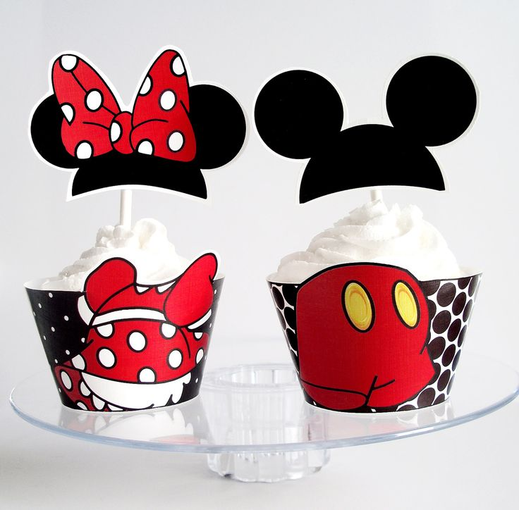 Mickey Mouse and Minnie Mouse  Printable Cupcake Wrappers and Toppers- Party Decorations Digital File - Print at Home SPECIAL. $4.00, via Etsy.