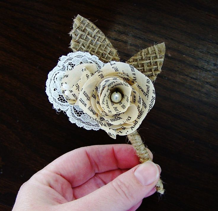 Book Page Boutonniere -Book Page Flower -Vintage Paper Boutineer -Paper Rose -Eco Wedding. $15.00, via Etsy.