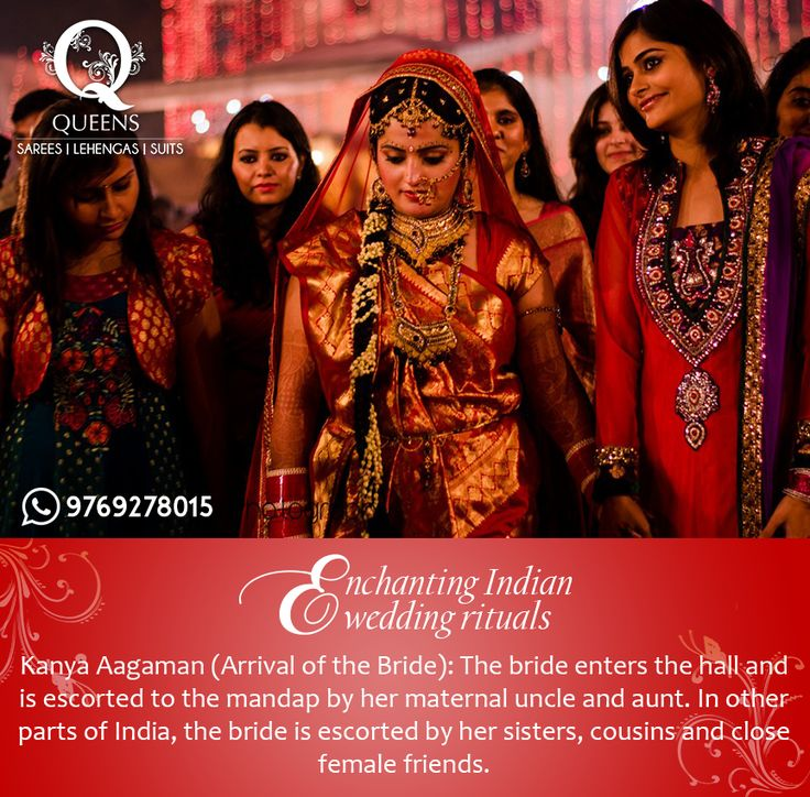 The bride enters the hall and is escorted to the mandap by her maternal uncle and aunt, signifying that the bride's maternal side approves of the union. #QueensEmporium #EnchantingIndianRituals